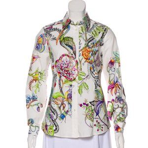 Etro Printed Long Sleeve Button-Up Top